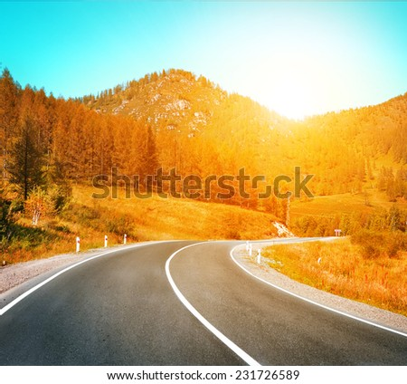 highway to sunset - stock photo