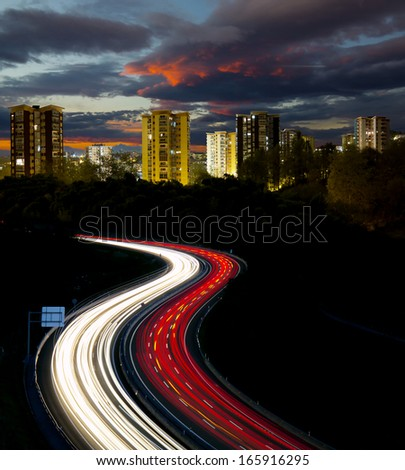 Highway to the city.  - stock photo