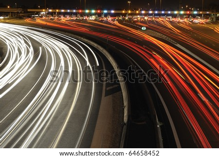 highway toll gate at night, in the south of France - stock photo