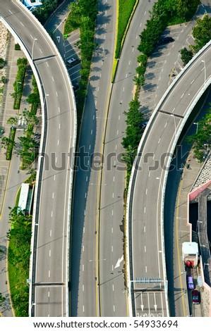 Highway top view - stock photo
