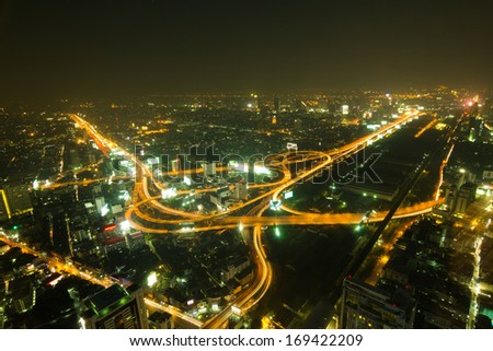Highway Traffic  Dusk , city scape background - stock photo