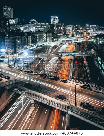 Highway traffic in Boston - stock photo