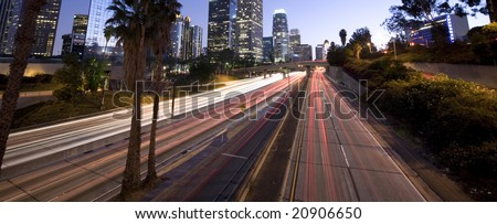Highway traffic in Los Angeles - stock photo