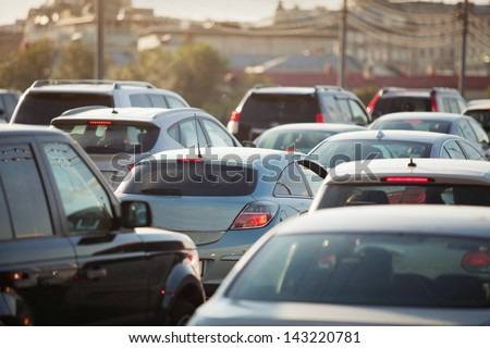 Highway Traffic Jam, cars on the road - stock photo