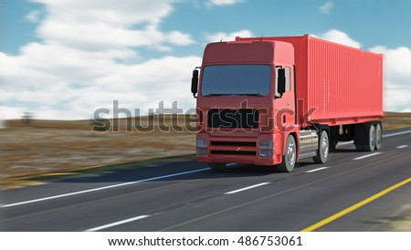 highway traffic on a lovely, sunny summer day for use in presentations, education manuals, design, etc. 3D illustration
