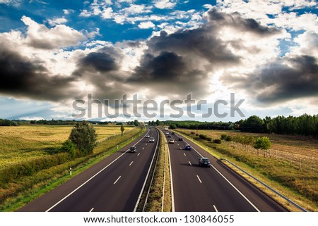 highway traffic on  summer day