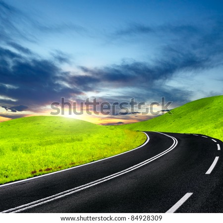 Highway travel - stock photo