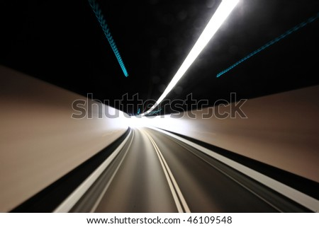 highway tunnel , motion blured - stock photo