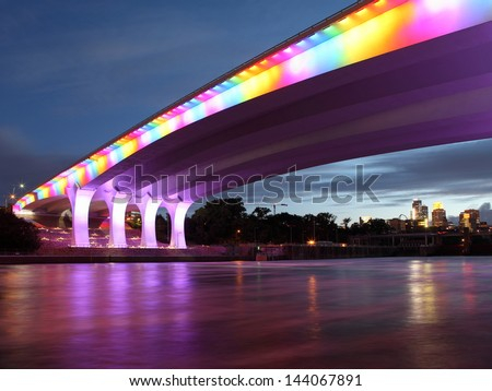 Highway 35W bridge over Mississippi river in Minneapolis - stock photo