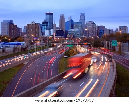 Highway 35W in Minneapolis - stock photo