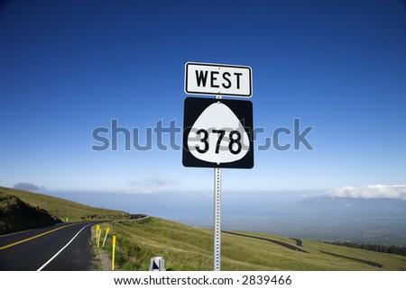 Highway 378 West road sign in Haleakala National Park, Maui, Hawaii. - stock photo