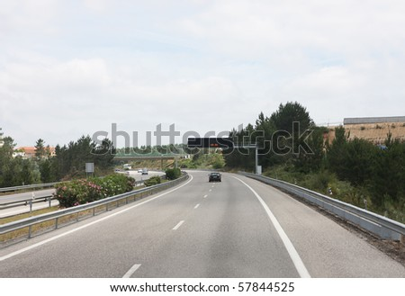 highway with an electronic display - stock photo