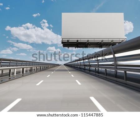 Highway with billboard - stock photo
