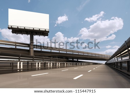Highway with billboard - stock photo