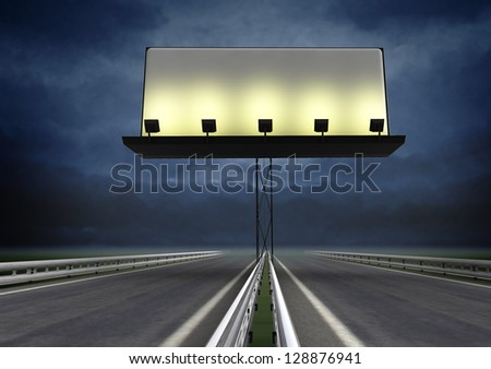 highway with lighted blank billboard and evening sky illustration - stock photo