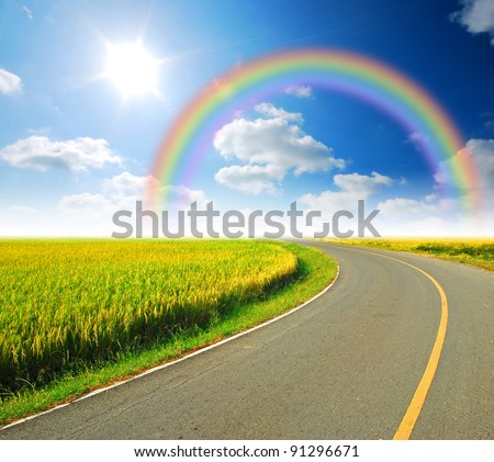 Highway with yellow grass - stock photo