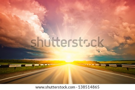 Highways against the setting sun - stock photo