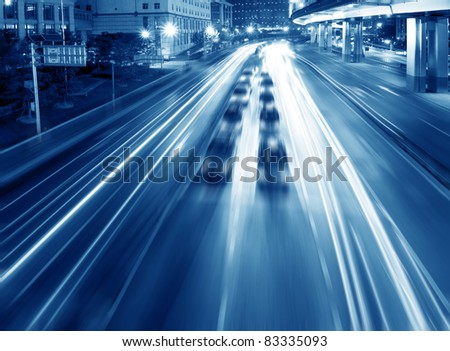 Highways and overpasses at night - stock photo
