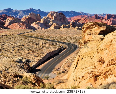 Highways and roads at the Valley of Fire / Winding Road - stock photo
