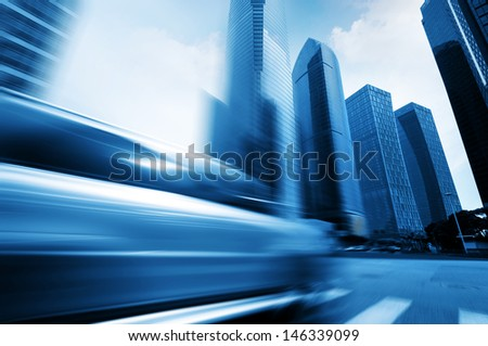 Highways of the city, flying car, motion blur.