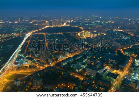Highways, tall buildings in sleeping area at night in Moscow, Russia - stock photo