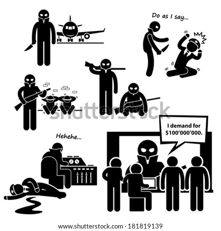 Hijacker Terrorist Airplane Stick Figure Pictogram Icon Clipart - stock photo