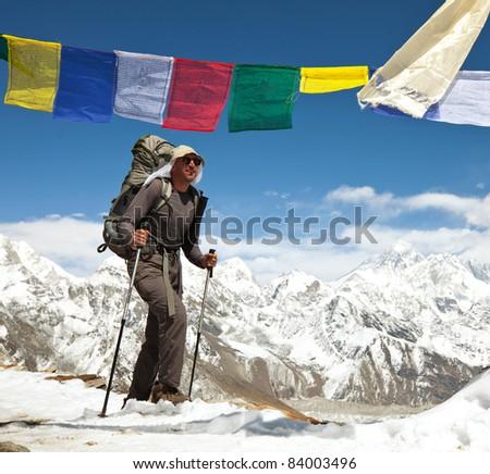 hike in Everest region - stock photo