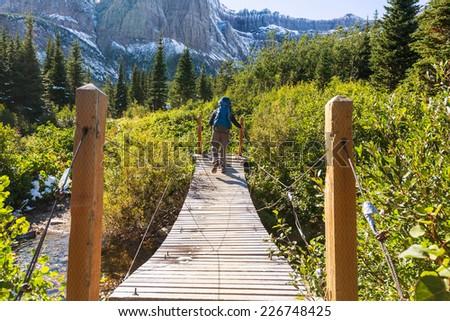 Hike in Glacier National Park, Montana - stock photo