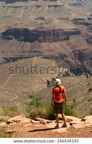 Hike in Grand Canyon - stock photo