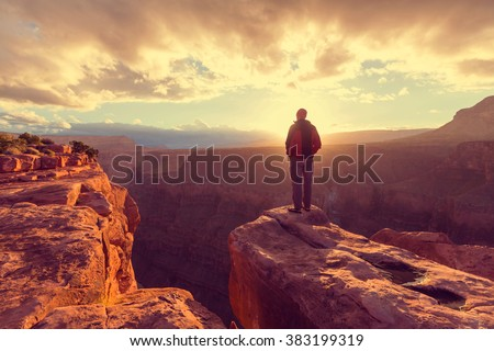 Hike in Grand Canyon National Park - stock photo