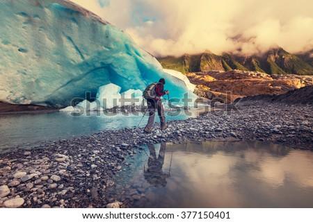 Hike in Norway mountains, Svartisen Glacier - stock photo
