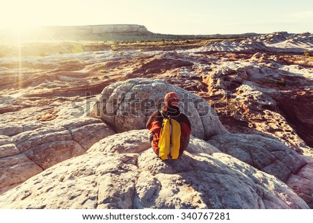 Hike in Utah mountains - stock photo