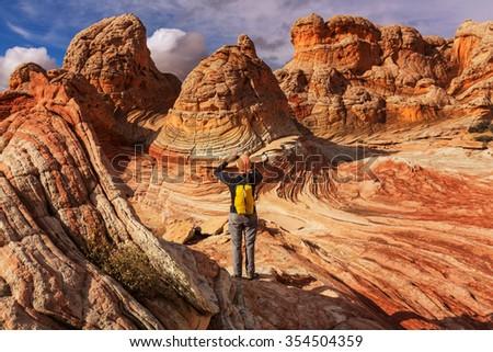 Hike in Utah mountains - stock photo