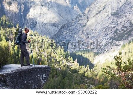 Hike in Yosemite mountains - stock photo