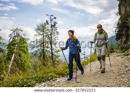 Hike mountain in the Dolomites, the trail Punta Sorapiss - stock photo