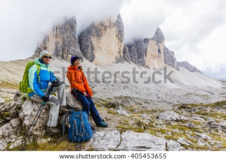 Hike mountain in the Dolomites, the trail Tre Cime di Lavaredo  - stock photo