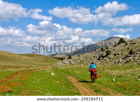 Hike the mountain biking Turkey - stock photo