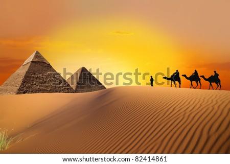 hike to pyramid - stock photo