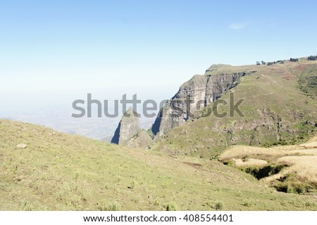 Hike trough mountain ridge in Simien mountains, Ethiopia - stock photo