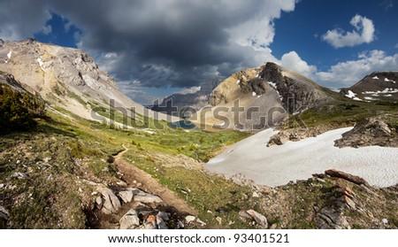 Hike up to Harvey Pass from Bourgeau Lake, Near Sunshine Village Ski Hill, Banff National Park, Alberta, Canada - stock photo