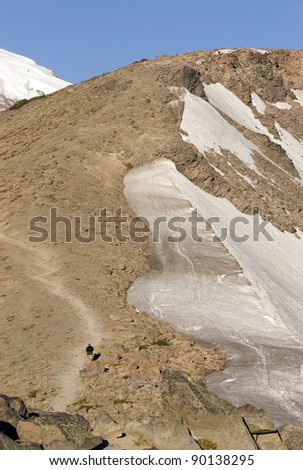 Hiker heads up the trial towards Mount Rainier - stock photo