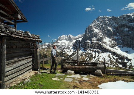 hiker in austrian alps