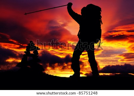 Hiker in front of the Sunrise