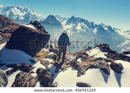 Hiker in Himalayas mountain. Nepal - stock photo