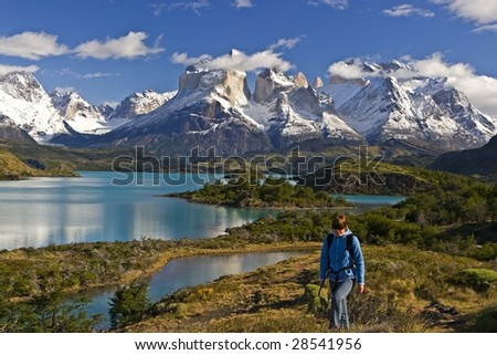 Hiker in Patagonia - stock photo