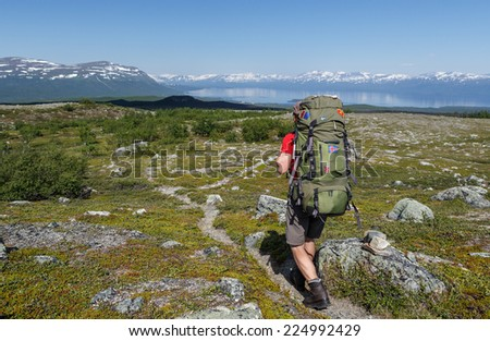 Hiker in the wilderness of Sweden tornetr�¤sk lookout - stock photo