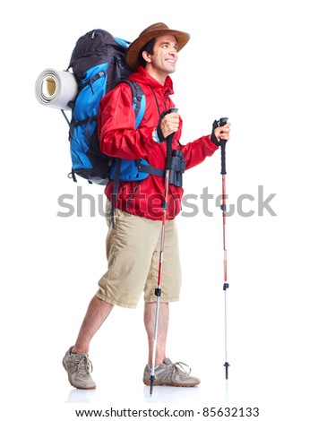 Hiker man  tourist. Hiking. Isolated over white background. - stock photo
