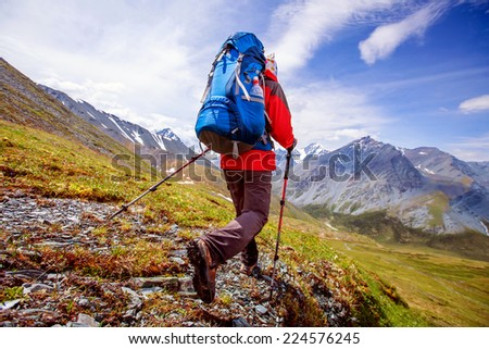 Hiker near Belukha Mountain, the highest in Siberia - stock photo