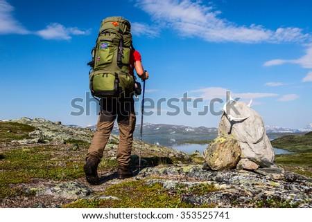 Hiker on the Kungsleden - stock photo