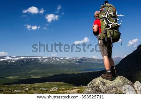 Hiker on the Kungsleden in northern Sweden - stock photo